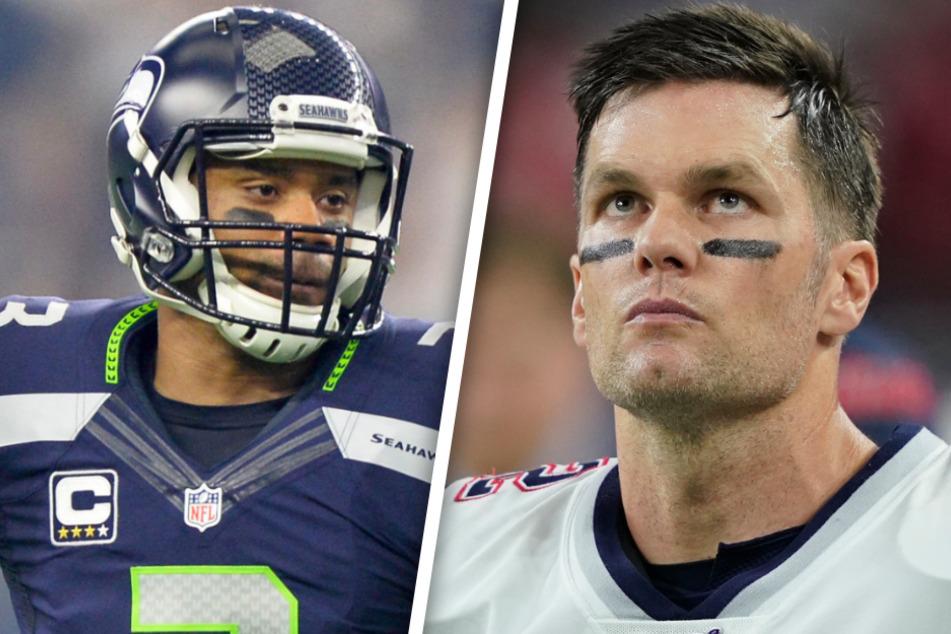 David Bada in der NFL: Russell Wilson (31) und Tom Brady (42) im Visier? (Bildmontage)