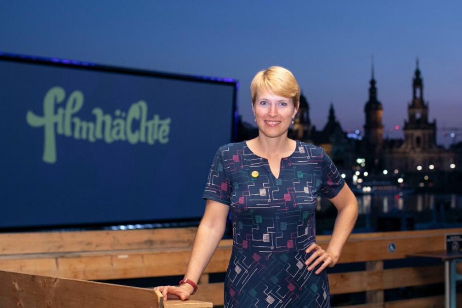 Viktoria Franke (33) freut sich, dass die Dresdner den Filmnächten auch im Corona-Sommer treu bleiben.