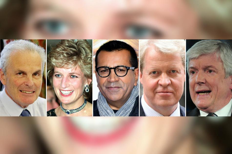 Die Akteure in der Übersicht (v.l.): Richter Lord John Dyson (77), Prinzessin Diana (†36), der damalige BBC Reporter Martin Bashir (58), Dianas jüngerer Bruder Earl Charles Spencer (57) und der aktuelle Generaldirektor der BBC, Lord Hall (70).