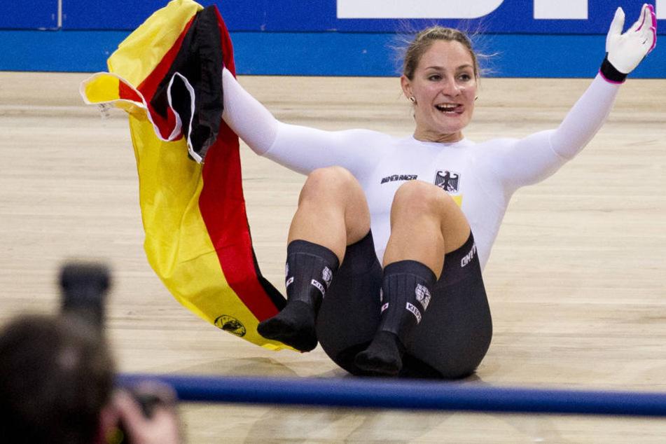 Kristina Vogel nach dem Sieg im Sprint-Turnier.