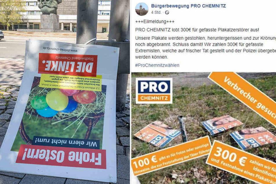 Pro Chemnitz setzt Kopfgeld auf Plakatschänder aus