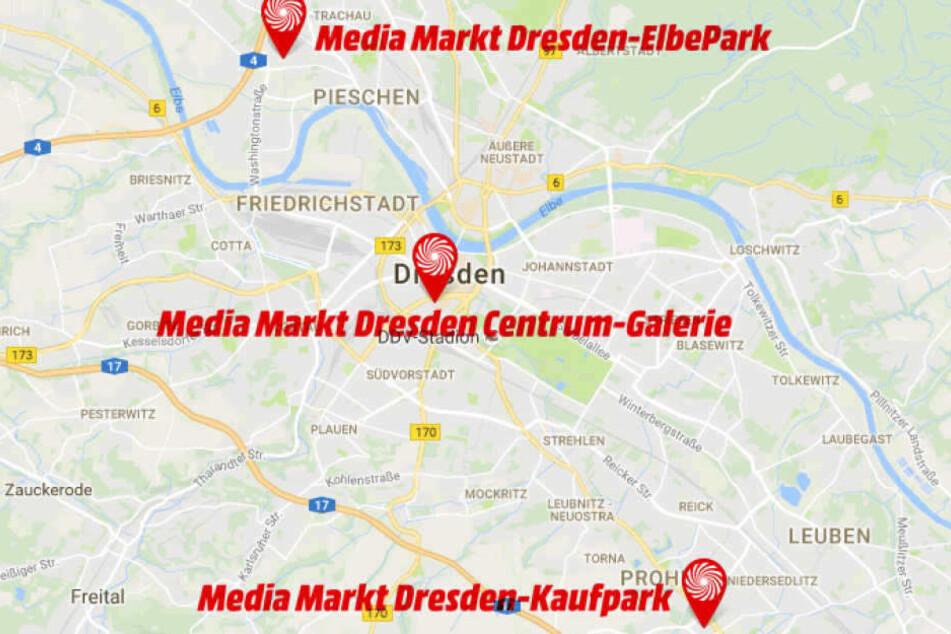 In Dresden gibt es an drei Standorten einen MediaMarkt.