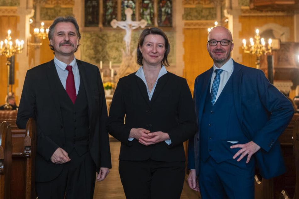 Die drei Kandidaten für das Bischofsamt: (v.li.)Andreas Beuchel, Superintendent in Meißen, Ulrike Weyer, Superintendentin in Plauen, und Tobias Bilz.