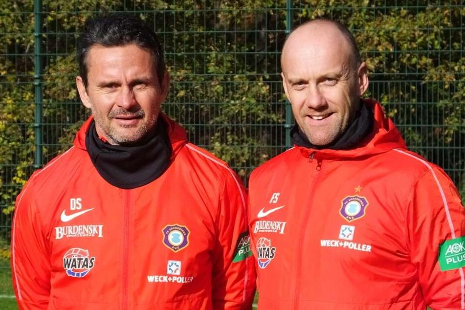 Aue Cheftrainer Dirk Schuster mit seinem neuen Co-Trainer Frank Steinmetz. Die beiden kennen sich bereits von der gemeinsamen Zeit in Darmstadt und Augsburg.