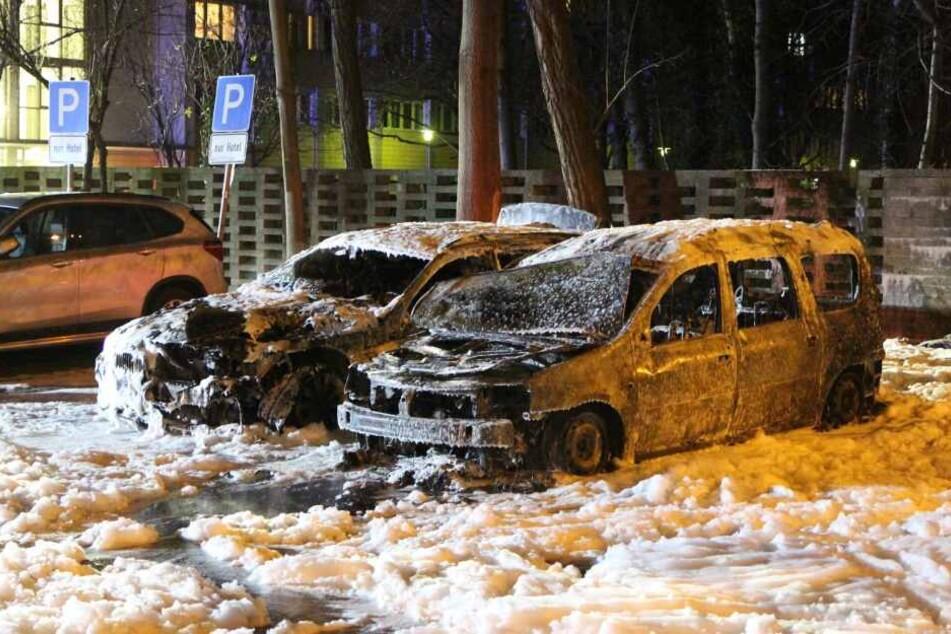 Der Dacia Logan und der 5er BMW fielen den Flammen zum Opfer.