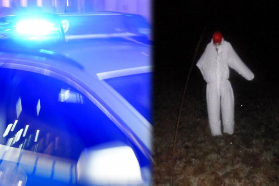 Die Montage zeigt rechts ein Foto der Polizei mit der mutmaßlichen Spuk-Erscheinung.
