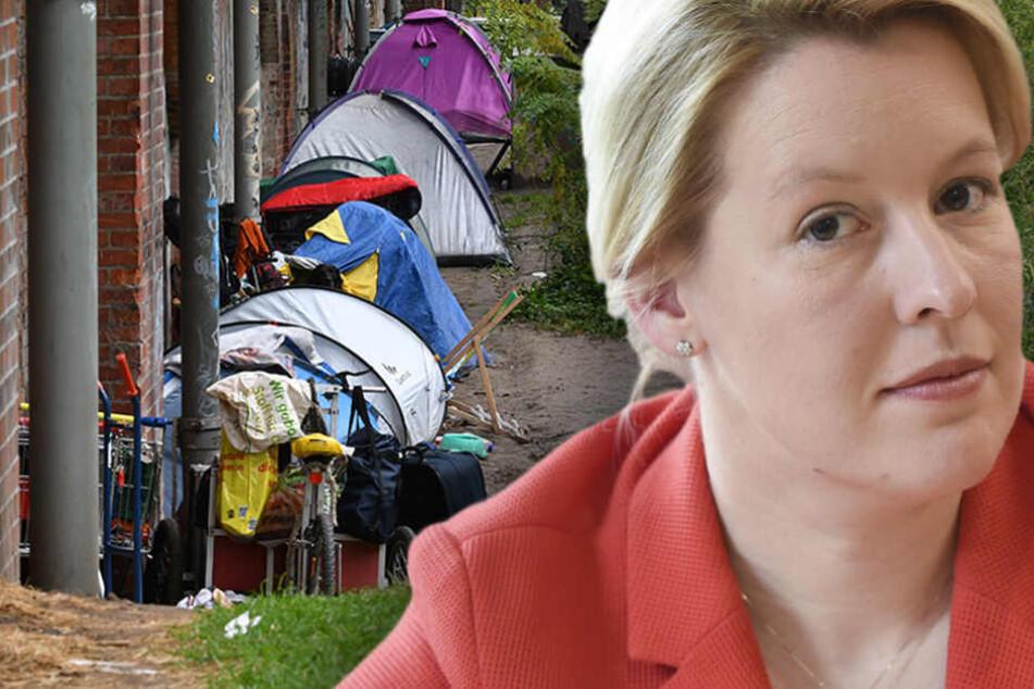 Neuköllns Bürgermeisterin will konsequent gegen campenden Osteuropäer vorgehen. (Bildmontage)