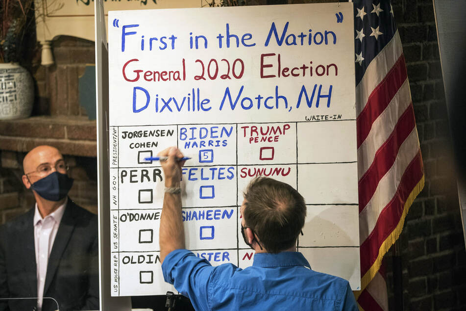 Election official announcing the first results of the election, in Dixville Notch, New Hampshire.