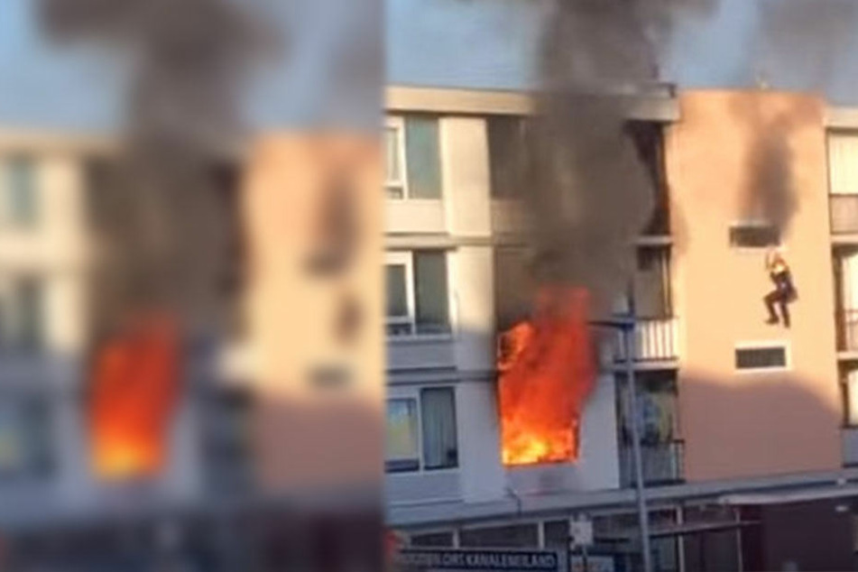 Nach der Explosion schlugen meterhohe Flammen aus der Wohnung.