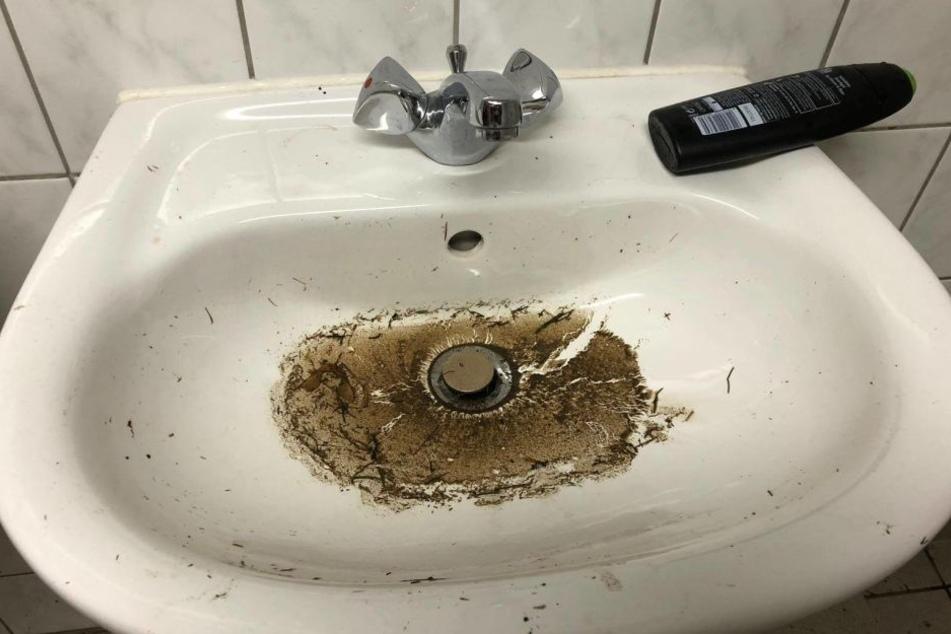 Dreck in den Waschbecken - So hinterließen die Gäste die Kabine.