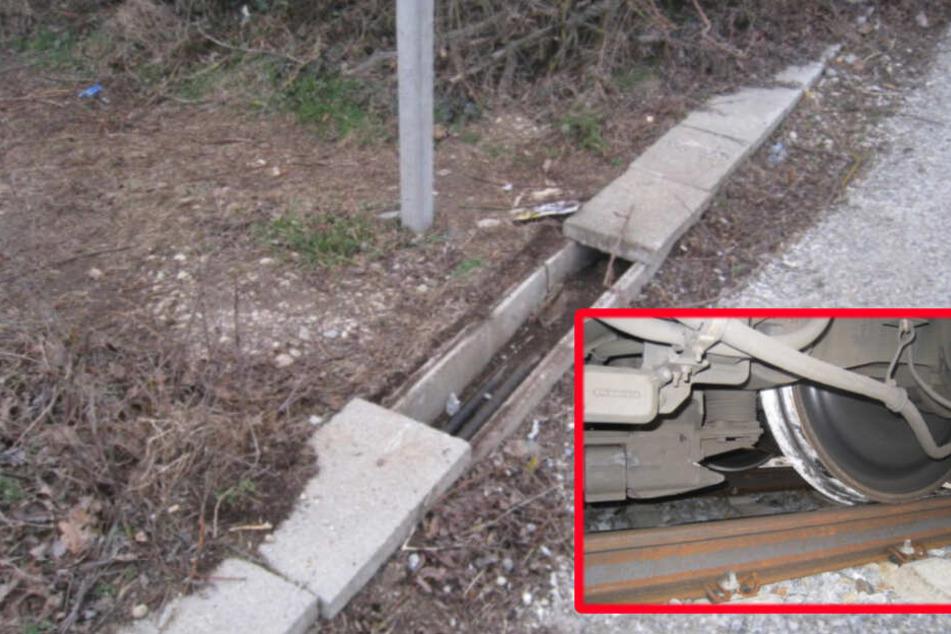 Unbekannte legen Betonplatten aufs Gleis, dann kommt ein Zug mit 200 Fahrgästen