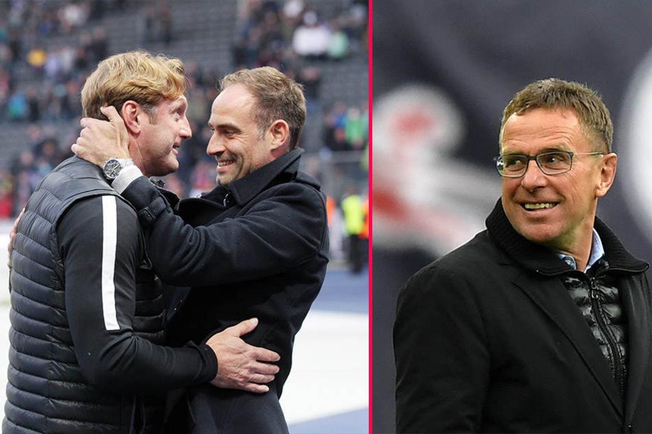 Trainer Ralph Hasenhüttl, Geschäftsführer Oliver Mintzlaff und Sportdirektor Ralf Rangnick (v.l.n.r.) können sicher für die nächste Saison planen.