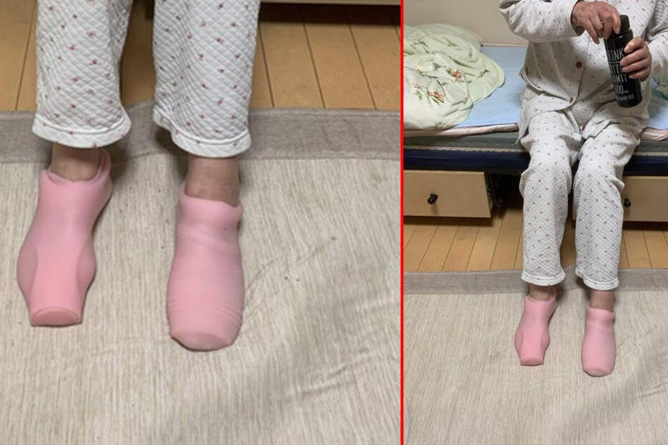 Die Oma trug tatsächlich die Sex-Toys ihres Enkels an den Füßen.