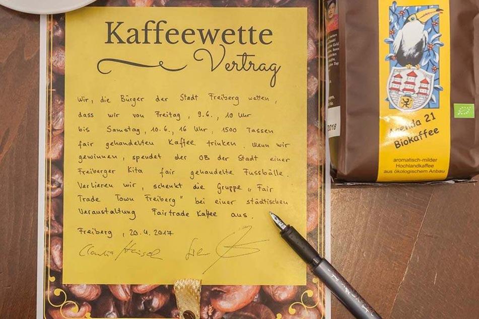 Der unterzeichnete Text der Kaffeewette.