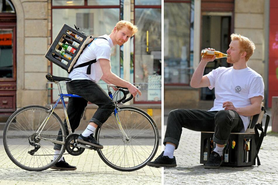 """Student Tilmann Rothe beweist: Auch mit dem Fahrrad lässt sich dank """"BeerBag"""" ein Kasten Bier kinderleicht transportieren. Für die Party kann der """"BeerBag"""" und Kasten zum praktischen Hocker mit Lehne umgebaut werden."""