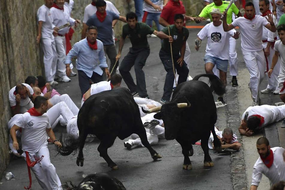 Wahnsinn? Teilnehmer der Stierhatz treiben zwei Stiere durch die Gassen von Pamplona.