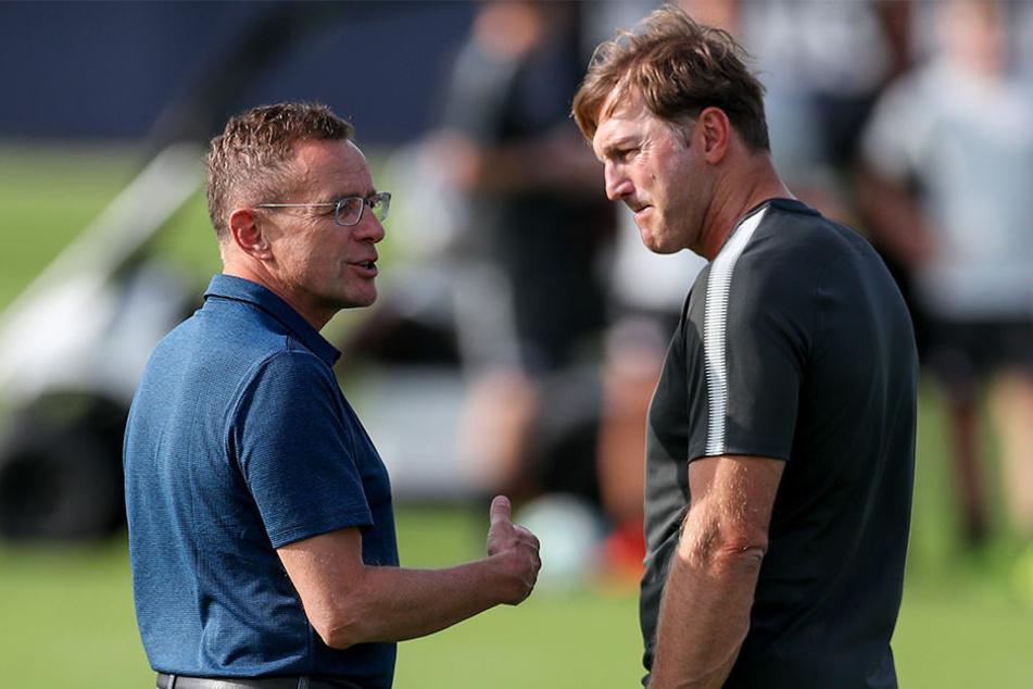 Priorität haben nach dem Saisonende die vorzeitigen Verlängerungen mit Ralph Hasenhüttl (r.) und Spieler Timo Werner.