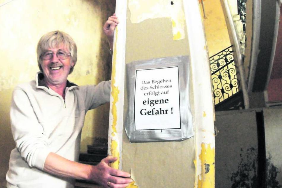 Vereinsvorsitzender Winfried Pfeil (68) betrieb acht Jahre lang eine  Gartenwirtschaft vor dem Schloss.