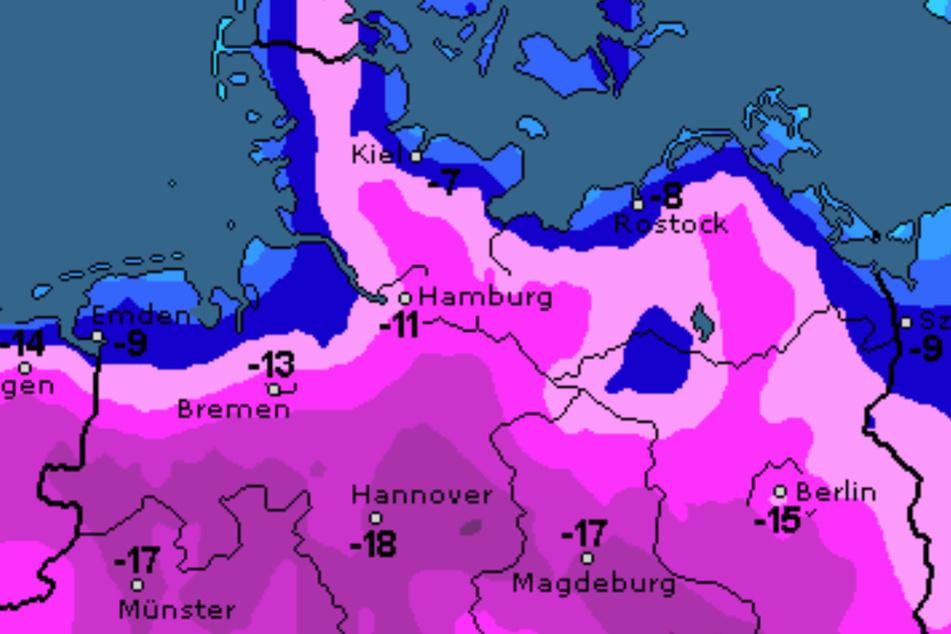 In Hamburg werden Tiefsttemperaturen von bis zu -11 Grad erwartet.
