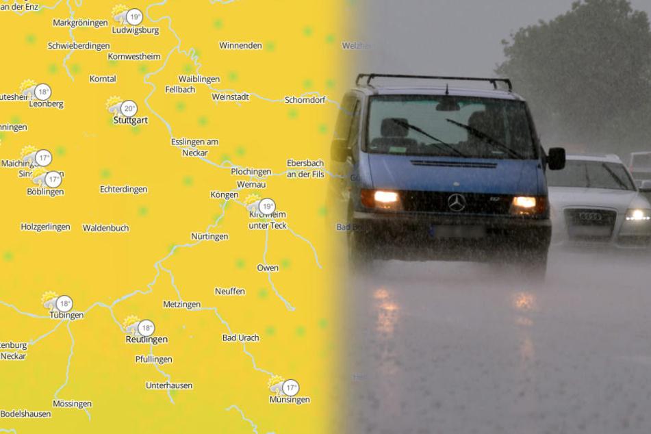 Auch Starkregen mit Überflutungen ist am Montag möglich. (Fotomontage/Archivbild)