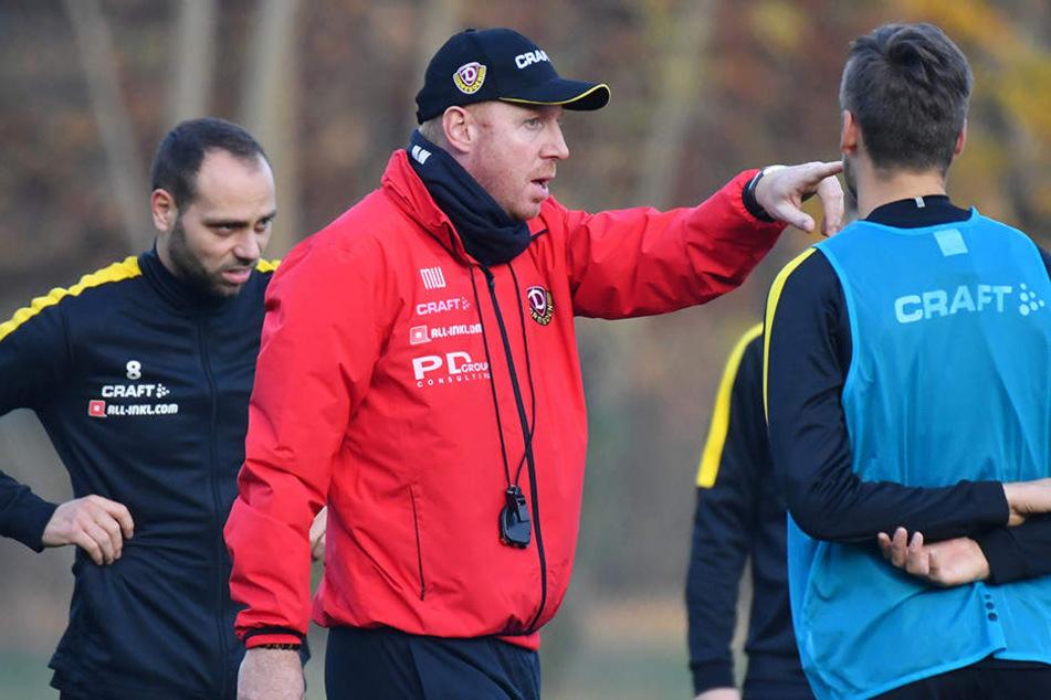 Dynamo-Coach Maik Walpurgis (M.) muss in der Länderspielpause in den Trainingseinheiten versuchen, seine Spieler vor allem mental wieder in die Spur zu bringen.