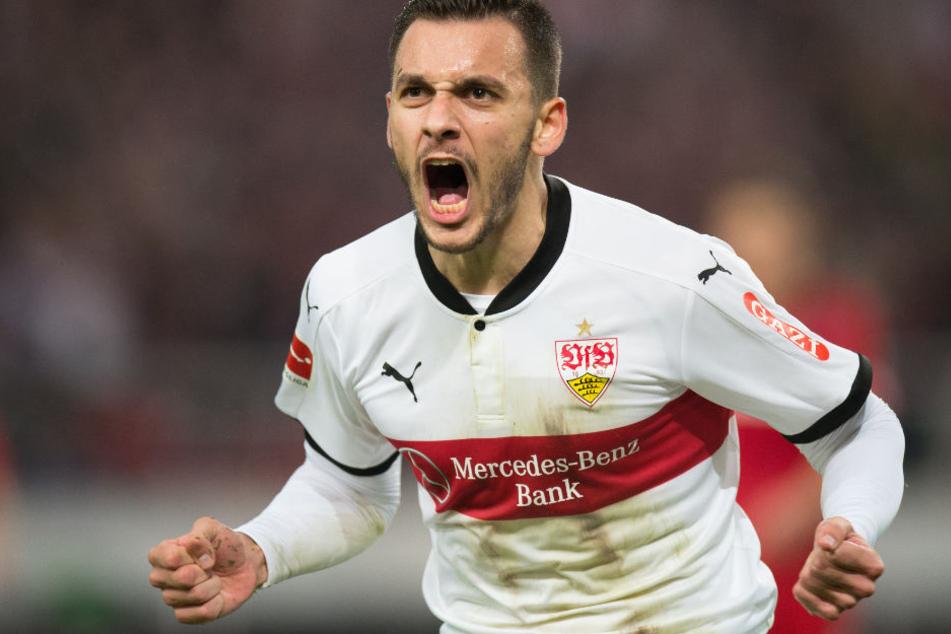 Hatte allen Grund zum Jubeln: Stuttgarts Torschütze (38. Minute) Anastasios Donis.