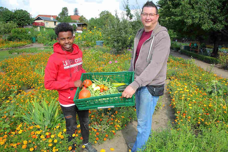 Flüchtling Masoud (19) mit einer der Gemüse-Kisten für Tafel-Chef Andreas Schönherr (43).