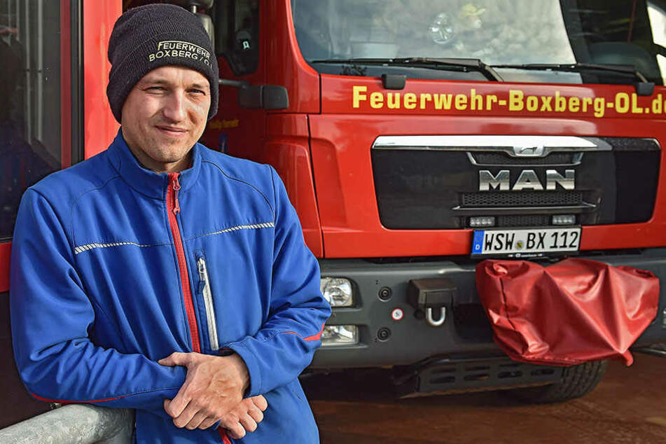 Enrico Hundro engagiert sich bei der Boxberger Feuerwehr.