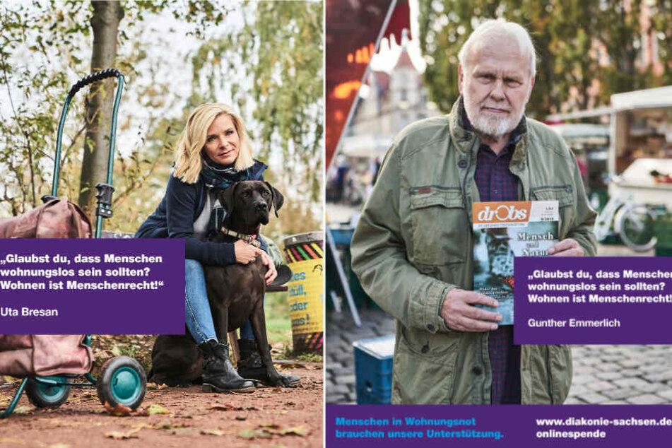 Zeigen Herz für Obdachlose: Uta Bresan (54) und Gunther Emmerlich (75) unterstützen die Spenden-Kampagne der Diakonie Sachsen.