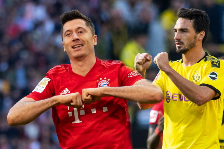 FCB-Stürmer Robert Lewandowski und BVB-Abwehrchef Mats Hummels (r.) trafen nach 267 gemeinsamen Spielen als Gegner aufeinander.