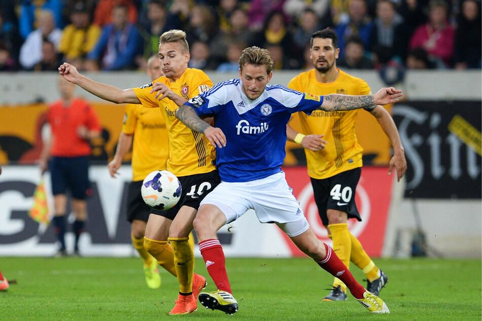 Luca Dürholtz (27, l.) spielte zwischen 2014 und 2016 42-mal für Dynamo Dresden in der 3. Liga, im Sachsenpokal und DFB-Pokal.