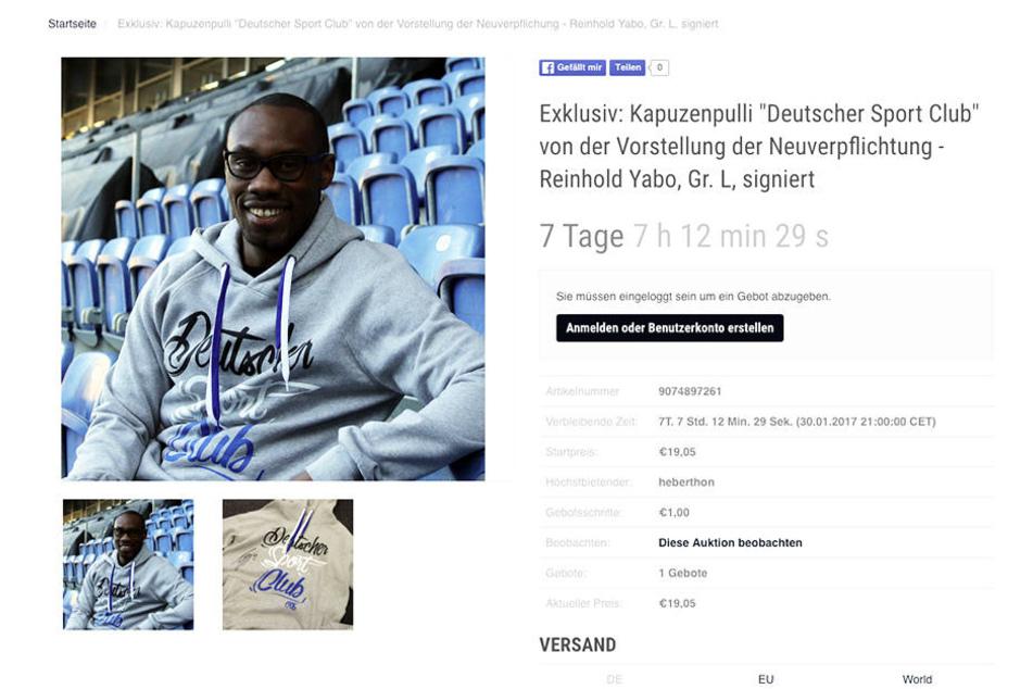 Auf sport-auktion.de versteigert Arminia Bielefeld den Hoodie von Yabo. Noch steht das Gebot bei 19,05 Euro.