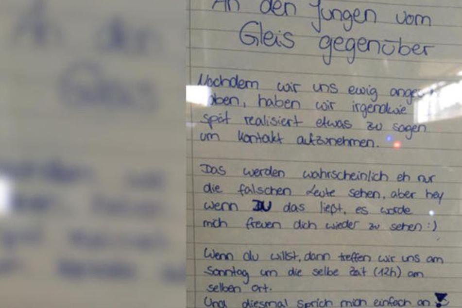 Mit diesem Zettel suchte die 16-Jährige nach dem Jungen.