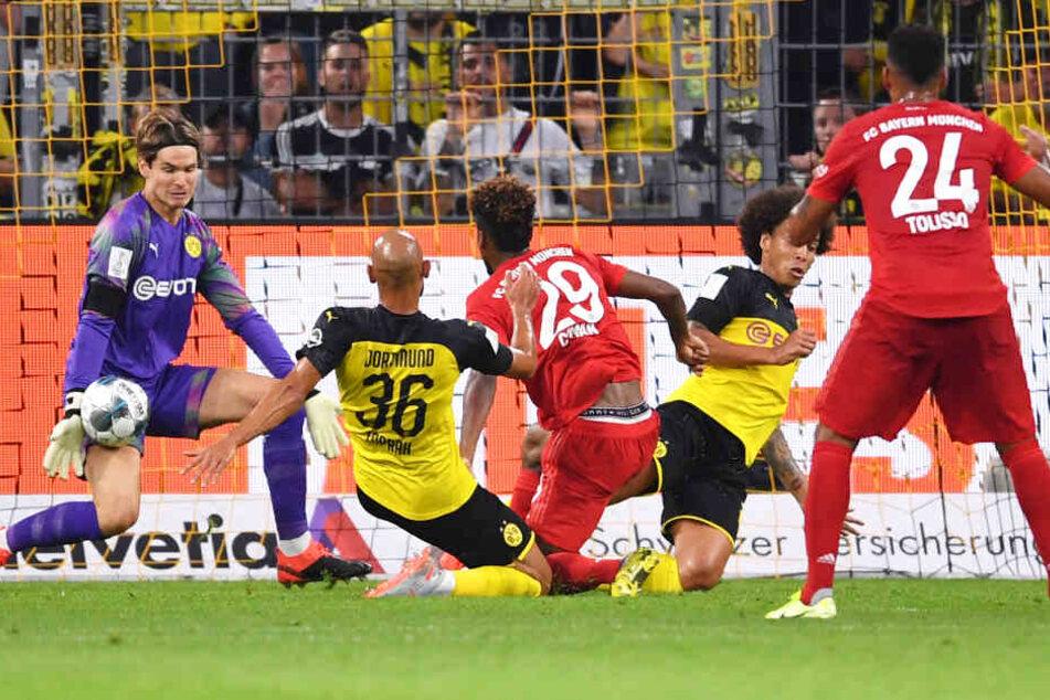 Marwin Hitz im Kasten der Borussia konnte einen Schuss von Kingsley Coman abwehren.