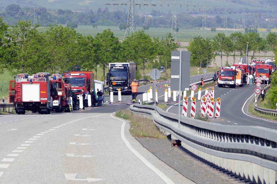 Nichts geht mehr auf der B80 zwischen Eisleben und Halle (Saale).