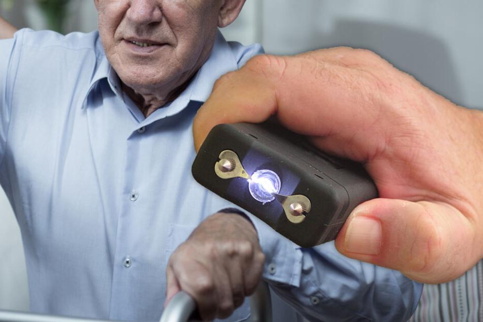 Fotomontage: Der Angeklagte soll sein Opfer mit einem Elektroschocker gequält haben. (Bildmontage)