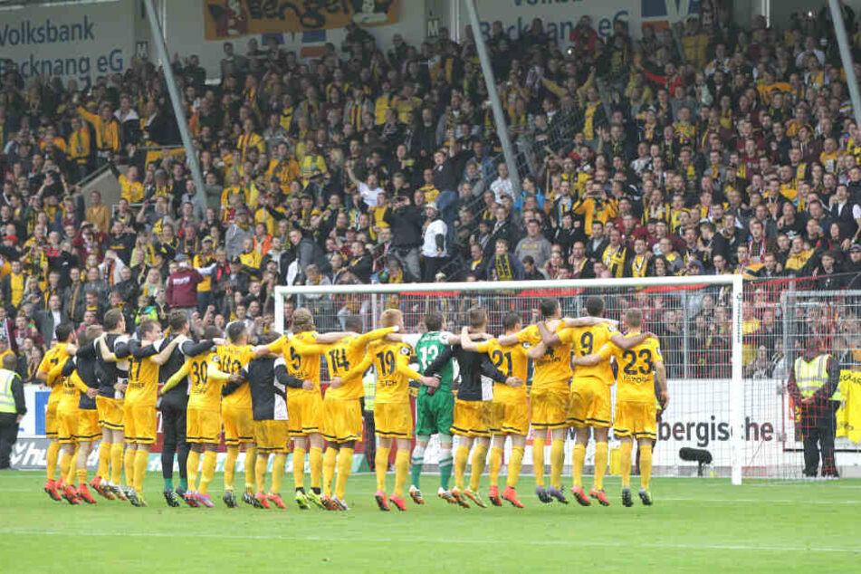 Dynamo feierte am 13. September 2014 den Sieg auf dem Ländle und war damals Spitzenreiter der 3. Liga.