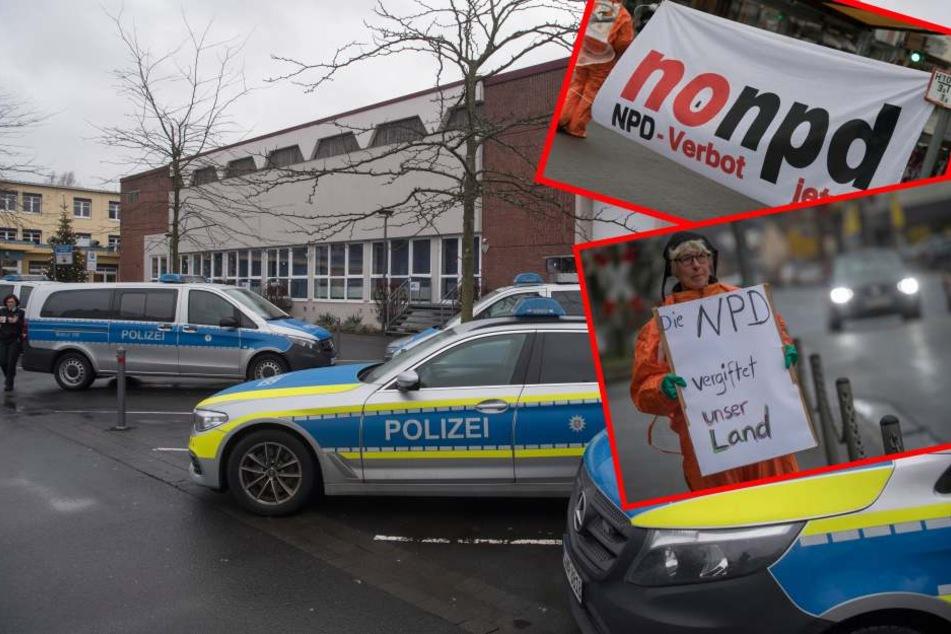Viel Polizei und Gegendemo bei NPD-Event in Büdingen