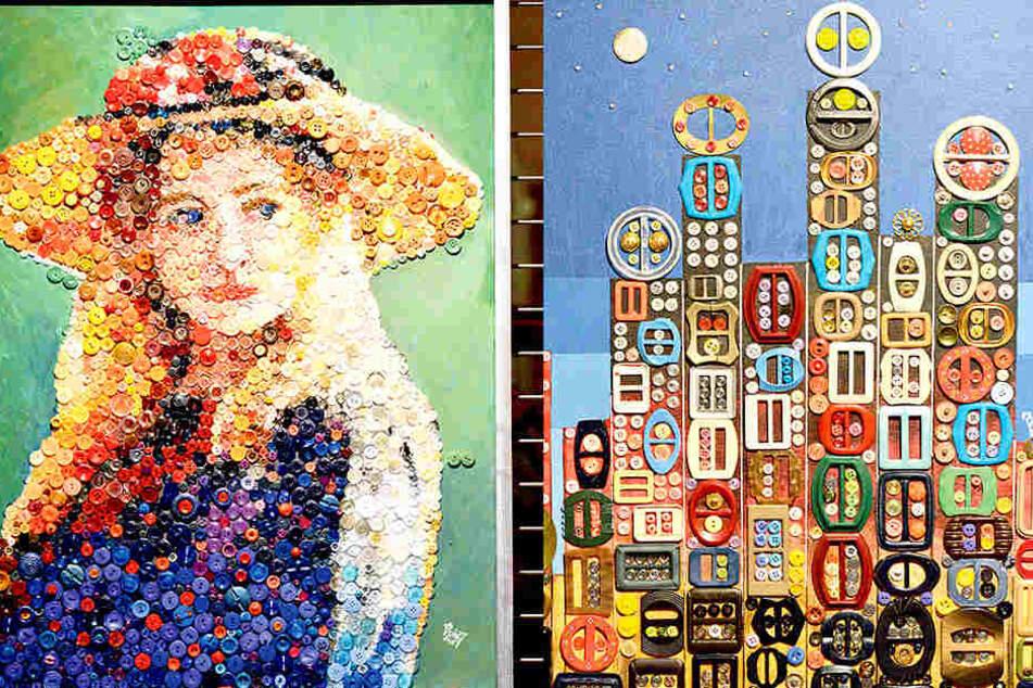 """Verblüffend: Hier hat sich der Künstler diese hübsche Frau """"mit Strohhut""""  vorgeknöpft (links). Ganz anders: Voigts Vorstellung von """"Manhatten"""" (rechts)."""