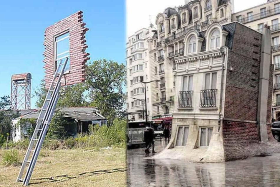 Weitere beeindruckende Kunstwerke von Leandro Erlich: Das schwebende Fenster von New Orleans und das schmelzende Haus in Paris.