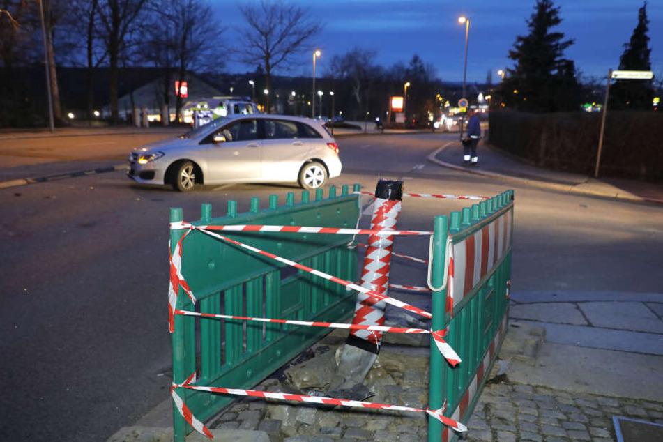 Die Frankenberger Straße musste während der Unfallaufnahme zeitweise voll gesperrt werden.