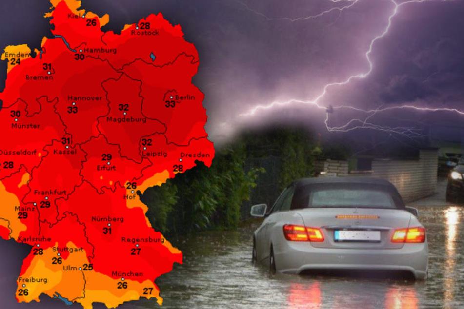 Überflutungen möglich: Bis zu 33 Grad und dann knallt's richtig in Deutschland!