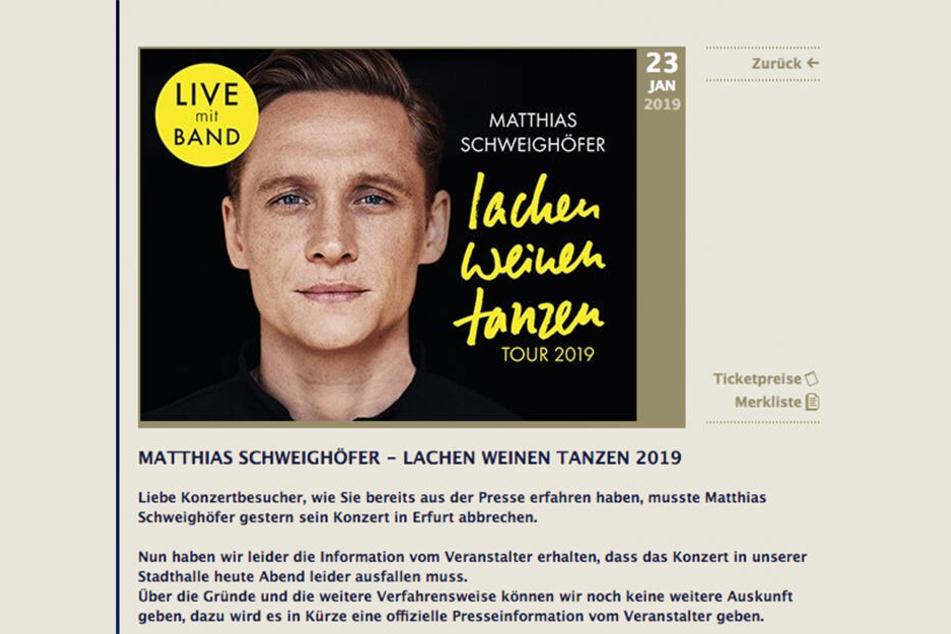 Wie die Stadt Zwickau online bekannt gibt, muss das Konzert ausfallen.