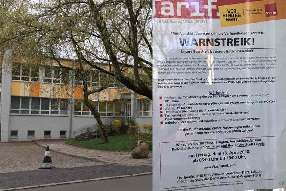 Der Kindergarten in der Kunzestraße in Leipzig bleibt am Freitag dicht. Im schließen sich Dutzende weitere Betreuungseinrichtungen in Sachsen und Sachsen-Anhalt an.