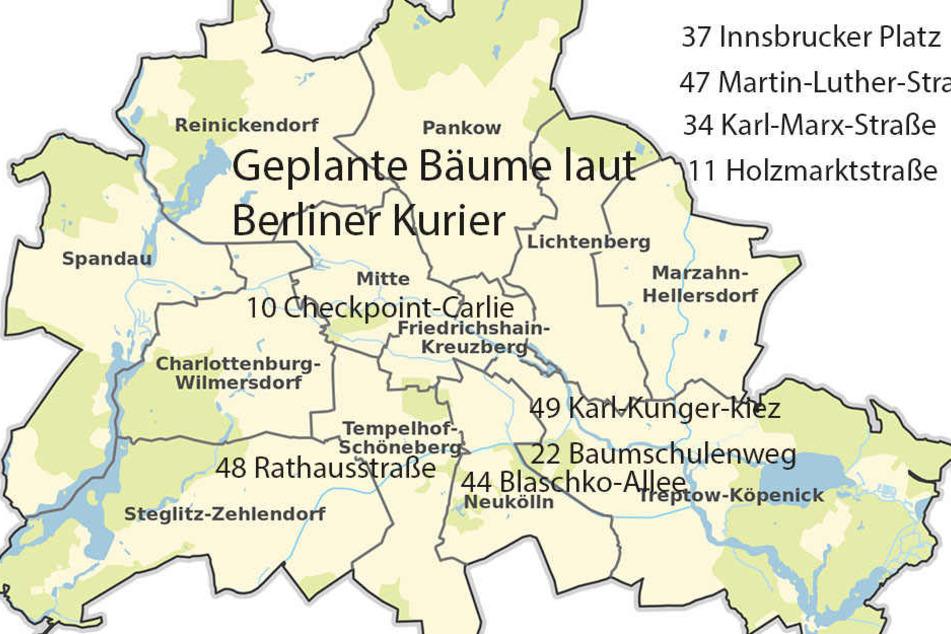 Hier sind die bereits geplanten Bäume in Berlin zu sehen. Bisher wurden im Rahmen früherer Baumkampagnen ca. 7000 Straßenbäume gepflanzt und 740.000 Euro Spenden eingenommen. (Quelle: Stadtentwicklung Berlin)