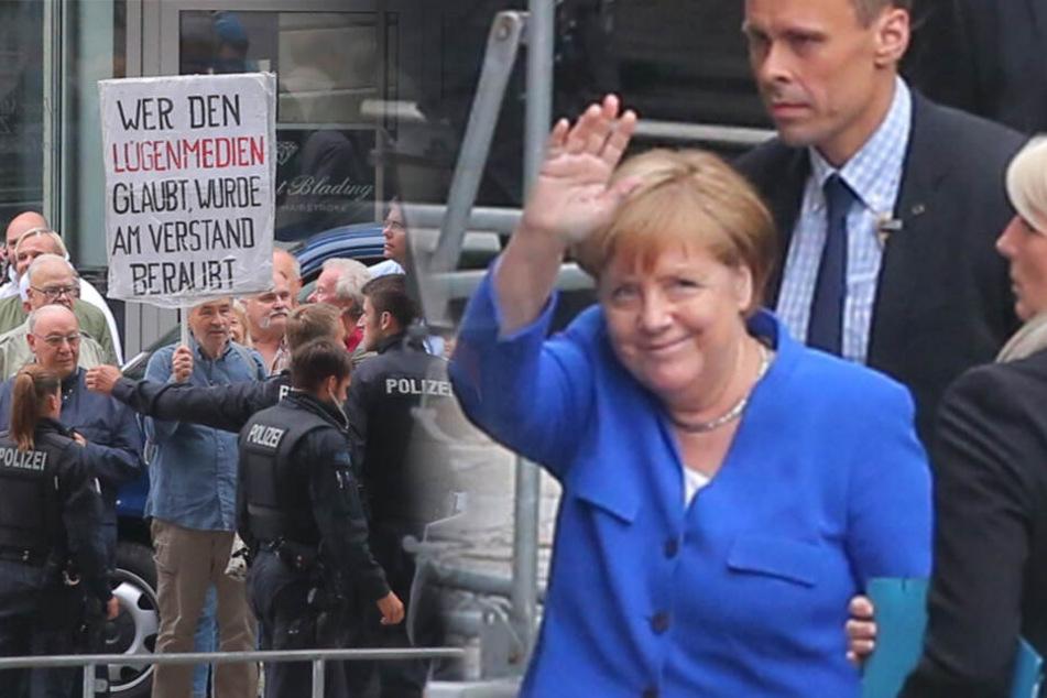 Kanzlerin auf Dresden-Visite: Pegida pöbelt bei Merkel-Besuch