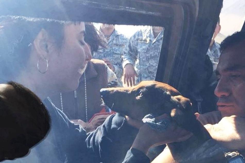 Überglücklich nimmt die Besitzerin Janis Cavieres ihren Hund in die Arme.