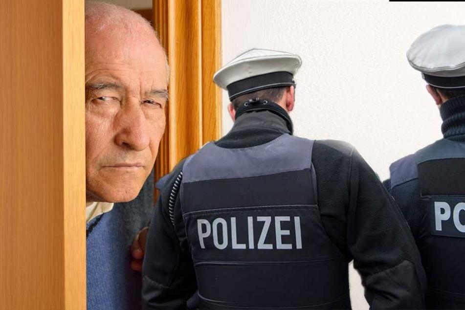 Als der Mann den beiden angeblichen Polizisten die Tür öffnete, schlugen die Räuber zu (Symbolbild, Montage)