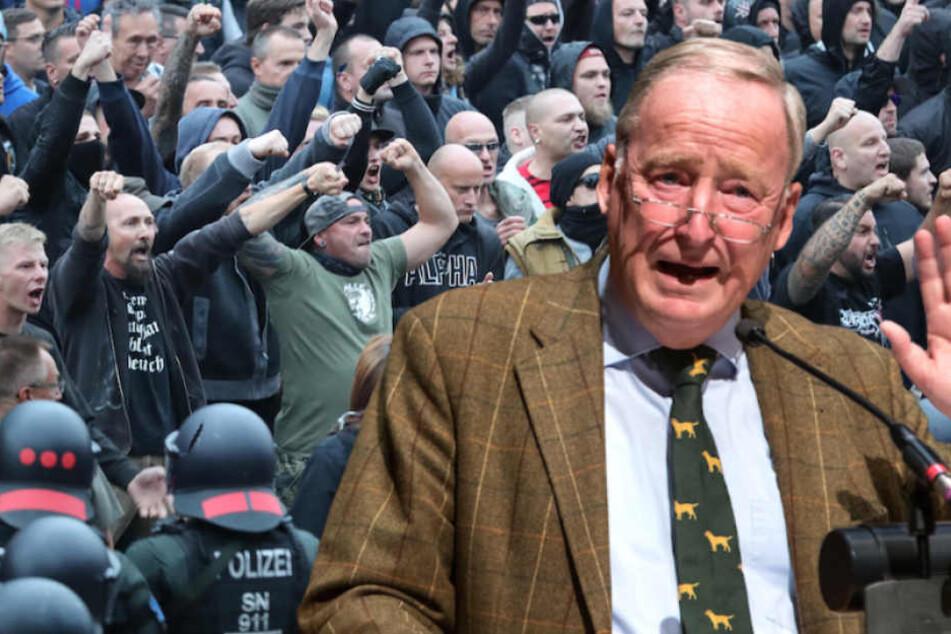 Der AfD-Vorsitzende Alexander Gauland (77) relativiert die rechten Gewaltausbrüche in Chemnitz. (Bildmontage)