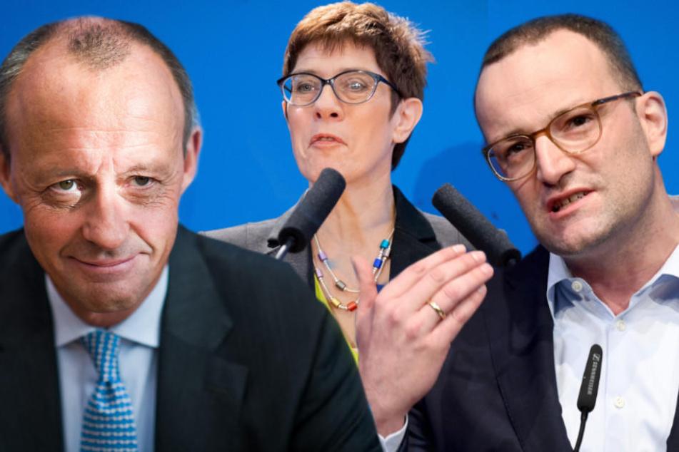 Friedrich Merz, Annegret Kramp-Karrenbauer und Jens Spahn kandidieren für das Amt als Parteivorsitzende der CDU.